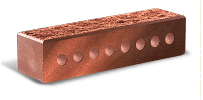 (Бордо) Облицовочный кирпич «Литос» Узкий колотый с фаской