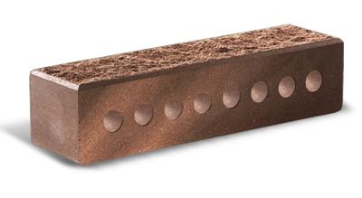 (Шоколад) Облицовочный кирпич «Литос» Узкий колотый с фаской